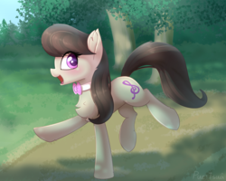 Size: 2237x1792 | Tagged: artist:puetsua, balancing, chest fluff, cute, ear fluff, earth pony, female, fluffy, happy, leg fluff, looking at you, looking back, mare, octavia melody, open mouth, outdoors, park, path, pony, raised hoof, raised leg, running, safe, smiling, solo, tavibetes, tree