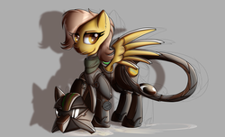 Size: 2800x1700 | Tagged: safe, artist:elmutanto, oc, oc only, oc:rosemary, pony, fallout equestria, fanfic:fallout equestria: broken oaths, armor, gray background, simple background, terminator