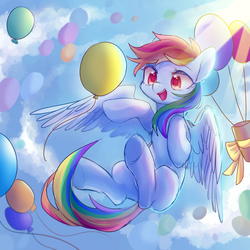 Size: 2000x2000   Tagged: safe, artist:leafywind, rainbow dash, pegasus, pony, balloon, cloud, colored pupils, crepuscular rays, cute, dashabetes, female, flying, mare, open mouth, present, ribbon, sky, smiling, solo, spread wings, starry eyes, underhoof, wingding eyes, wings