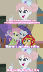 Size: 636x1077 | Tagged: comic, constructive criticism, edit, edited screencap, equestria girls, equestria girls series, fluttershy, nurse purpleheart, nurse redheart, rainbow rocks, rarity, ryan george, safe, screencap, screencap comic, selfie, sunset shimmer, text