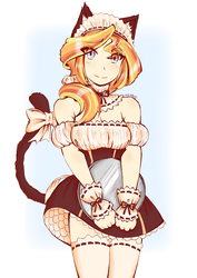 Size: 2480x3507   Tagged: safe, artist:dragonemperror2810, sunset shimmer, human, breasts, cat ears, cat tail, catgirl, clothes, female, humanized, maid, smiling, solo