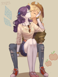 Size: 1400x1850 | Tagged: safe, artist:tcn1205, applejack, rarity, human, equestria girls, apple, applejack's hat, bracelet, cheek kiss, clothes, converse, cowboy hat, cute, daaaaaaaaaaaw, eyes closed, female, food, freckles, glasses, hat, humanized, jackabetes, jewelry, kissing, lesbian, necklace, pants, pony coloring, raribetes, rarijack, shipping, shoes, sitting, smiling, sneakers, stetson, tanktop
