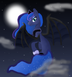 Size: 1000x1075 | Tagged: safe, artist:mr100dragon100, princess luna, alicorn, bat pony, bat pony alicorn, pony, bat ponified, cloud, cuffs (clothes), ethereal mane, full moon, lunabat, moon, night, race swap, sitting on cloud, starry mane, stars