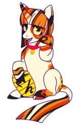 Size: 360x600 | Tagged: safe, artist:guidomista, artist:miiistaaa, artist:nijimillions, oc, oc:maneki, pony, unicorn, bell, chibi, cloven hooves, coin, collar, curved horn, cute, doodle, female, golden eyes, grin, hooves, horn, long horn, looking at you, luck, lucky, lucky cat, maneki neko, mare, markings, multicolored, multicolored hair, open mouth, short mane, sitting, sitting up, smiling, solo, spots, spotted, straight hair, straight mane, striped horn, striped mane, striped tail, stripes, yellow eyes