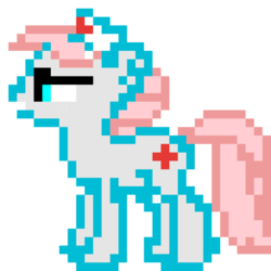 Size: 960x960 | Tagged: artist:joeydr, derpibooru exclusive, earth pony, female, mare, nurse redheart, pixel art, pony, safe, simple background, solo, transparent background