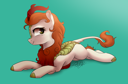 Size: 3688x2428 | Tagged: safe, artist:pucksterv, autumn blaze, kirin, sounds of silence, awwtumn blaze, cloven hooves, cute, female, scales, signature, simple background, smiling, solo