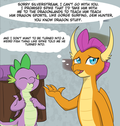 Size: 1744x1840 | Tagged: artist:chedx, backpack, comic:the weekend wager, commission, cropped, dragon, happy, safe, scared, school of friendship, smolder, spike, winged spike
