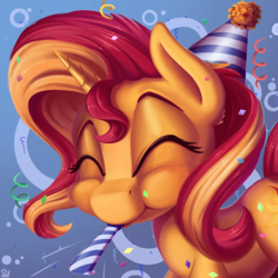 Size: 3000x3000 | Tagged: safe, artist:pirill, derpy hooves, sunset shimmer, pony, unicorn, :t, abstract background, birthday, cheek fluff, confetti, cute, ear fluff, eyes closed, female, fluffy, gift art, happy, hat, mare, noisemaker, party hat, party horn, puffy cheeks, shimmerbetes, smiling, solo, streamers, when you see it