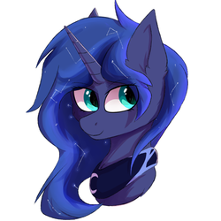 Size: 1024x1024 | Tagged: safe, artist:glazirka, princess luna, pony, alternate hairstyle, bust, constellation, cute, ear fluff, ethereal mane, eye clipping through hair, eyebrows, eyebrows visible through hair, female, head only, lunabetes, peytral, portrait, simple background, solo, starry mane, white background