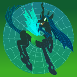 Size: 900x900 | Tagged: safe, artist:enigmadoodles, queen chrysalis, changeling, changeling queen, changelings in the comments, crown, fangs, female, gradient background, jewelry, open mouth, regalia, solo, spider web