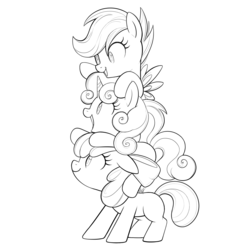 Size: 1728x1761 | Tagged: safe, artist:mn27, apple bloom, scootaloo, sweetie belle, earth pony, pony, unicorn, adorabloom, black and white, bow, cute, cutealoo, cutie mark crusaders, diasweetes, female, filly, grayscale, hair bow, lineart, monochrome, pony pile, simple background, smiling, tower of pony, trio, white background