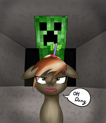 Size: 3100x3600 | Tagged: artist:linlaifeng, button mash, colt, creeper, dialogue, don't mine at night, earth pony, eye clipping through hair, floppy ears, foal, hat, imminent explosion, male, minecraft, open mouth, pony, propeller hat, safe, solo, speech bubble, this will end in death, this will end in explosions
