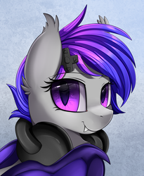 Size: 1446x1764 | Tagged: safe, artist:pridark, oc, oc:afternight, bat pony, pony, bat pony oc, bust, commission, cute, headphones, looking at you, portrait, purple eyes, smiling, solo