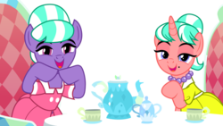 Size: 3550x2000 | Tagged: artist:tomfraggle, clothes, cup, dress, earth pony, lidded eyes, looking at you, open mouth, pony, safe, simple background, stepford ponies, table, teacup, transparent background, unicorn, what lies beneath