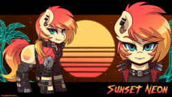 Size: 3840x2160 | Tagged: safe, artist:ciderpunk, oc, oc:sunset neon, pony, armor, boots, clothes, cyberpunk, ear piercing, earring, gloves, jewelry, looking at you, piercing, retrowave, shoes, socks, synthwave, vest