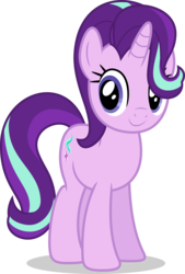 Size: 5000x7411 | Tagged: safe, artist:luckreza8, starlight glimmer, pony, unicorn, to where and back again, .svg available, absurd resolution, c:, cute, female, glimmerbetes, hair over one eye, looking at you, mare, simple background, smiling, standing, transparent background, vector