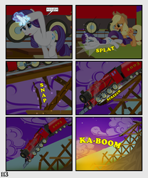 Size: 900x1080 | Tagged: safe, artist:lister-of-smeg, applejack, pony, comic:horkosworks, explosion, faint, magic, plushie, train, ty