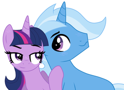 Size: 1024x747 | Tagged: safe, artist:missxxfofa123, trixie, twilight sparkle, pony, female, half r63 shipping, male, rule 63, shipping, straight, tristan