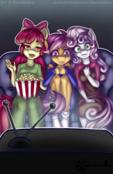 Size: 990x1530 | Tagged: safe, artist:bumblebun, apple bloom, scootaloo, sweetie belle, anthro, clothes, couch, cutie mark crusaders, food, meh, open mouth, pajamas, popcorn, scared, sitting, socks, television, watching