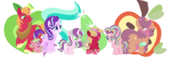 Size: 1024x350 | Tagged: safe, artist:blueberrymuffin02, artist:selenaede, big macintosh, starlight glimmer, oc, oc:jiji glimmer, oc:klara glimmer, oc:mike mac, oc:sugar apple, oc:triples, earth pony, pony, unicorn, baby, baby pony, base used, chest fluff, colt, cutie mark background, family, female, filly, freckles, glimmermac, half-siblings, male, mare, offspring, parent:big macintosh, parent:cheerilee, parent:starlight glimmer, parents:cheerimac, parents:glimmermac, shipping, stallion, straight