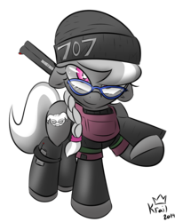Size: 1300x1576 | Tagged: armor, artist:kingkrail, beanie, clothes, cosplay, costume, dokkaebi, glasses, gun, hat, pony, pose, rainbow six, rainbow six siege, safe, silver spoon, solo, weapon