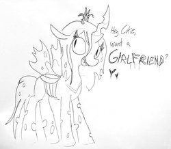 Size: 1583x1381 | Tagged: safe, artist:tjpones, queen chrysalis, changeling, changeling queen, bronybait, dialogue, female, flirting, grayscale, heart, lineart, looking at you, monochrome, simple background, solo, subtle as a train wreck, talking to viewer, traditional art