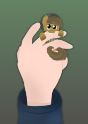 Size: 4960x7015 | Tagged: absurd res, artist:almond evergrow, biting, cute, derp, derpibooru exclusive, drool, ear fluff, earth pony, fingers, gradient background, green background, hand, hanging, human, in goliath's palm, leaning, looking at you, male, micro, nibbling, nom, oc, oc:almond evergrow, ocbetes, pony, safe, simple background, solo focus, stallion, tiny, tiny ponies