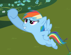 Size: 906x705 | Tagged: safe, screencap, rainbow dash, pegasus, pony, the mysterious mare do well, cropped, female, flying, hoof in air, hooves on hips, mare, pose, raised hoof, smiling, solo, spread wings, wings