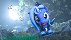 Size: 3840x2160 | Tagged: 3d, alicorn, artist:bonfirepng, blep, butterfly, cloud, crown, cute, female, filly, hoof shoes, jewelry, looking at you, lunabetes, moon, night, peytral, pony, princess luna, regalia, safe, silly, solo, source filmmaker, spread wings, tongue out, wings, woona, younger