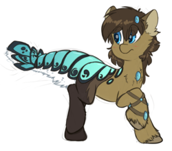 Size: 3487x3073 | Tagged: safe, artist:fluffyxai, oc, oc only, oc:spirit wind, original species, pony, suisei pony, armband, armor, blushing, bracelet, cheek fluff, chest fluff, closed species, confused, ear fluff, fluffy, frown, gem, hair ornament, jewelry, leg fluff, lobster tail, looking back, male, raised hoof, raised leg, scales, simple background, solo, species swap, stallion, tail fluff, transformation, white background, wide eyes, worried