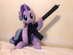 Size: 4032x3024 | Tagged: safe, artist:nekokevin, artist:yaop, starlight glimmer, pony, unicorn, series:nekokevin's glimmy, aero precision, ar15, gun, irl, photo, plushie, rifle, solo, this will end in communism, weapon