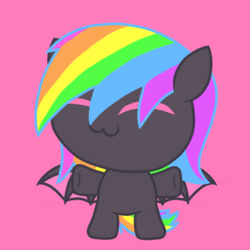 Size: 1080x1080 | Tagged: safe, artist:showtimeandcoal, oc, oc only, oc:noodle, bat pony, pony, chibi, commission, cute, female, filly, happy, icon, mare, ponysona, rainbow hair, simple background, solo, ych result