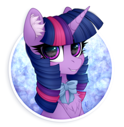 Size: 2100x2150 | Tagged: safe, artist:vird-gi, twilight sparkle, pony, bow, bowtie, bust, chest fluff, cute, ear fluff, female, looking at you, mare, portrait, smiling, solo