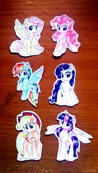Size: 2066x3672   Tagged: safe, artist:liaaqila, applejack, fluttershy, pinkie pie, rainbow dash, rarity, twilight sparkle, alicorn, earth pony, pegasus, pony, unicorn, applejack's hat, cowboy hat, cute, female, flying, hat, mane six, mare, spread wings, stetson, traditional art, twilight sparkle (alicorn), wings