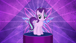 Size: 3840x2160 | Tagged: safe, artist:laszlvfx, artist:luckreza8, edit, starlight glimmer, pony, unicorn, to where and back again, .svg available, abstract background, c:, cute, female, glimmerbetes, hair over one eye, looking at you, mare, simple background, smiling, solo, standing, transparent background, vector, wallpaper, wallpaper edit