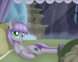 Size: 1926x1539 | Tagged: artist:dusthiel, bed, earth pony, female, looking at you, mare, maud pie, maud's cave, pillow, pony, safe, side, solo, waterfall