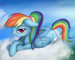 Size: 5000x4021 | Tagged: absurd res, alternate hairstyle, artist:celsian, cloud, female, floppy ears, folded wings, lidded eyes, looking at you, mare, open mouth, pegasus, pony, ponytail, prone, rainbow dash, safe, signature, solo