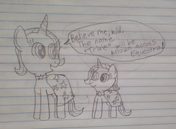 Size: 628x462 | Tagged: safe, artist:nightshadowmlp, trixie, pony, unicorn, cape, clothes, female, filly, filly trixie, happy, implied time travel, lined paper, mare, older, self ponidox, smiling, traditional art, trixie's cape, younger