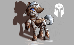 Size: 2800x1700 | Tagged: safe, artist:elmutanto, oc, oc only, oc:praetor, pony, fallout equestria, fanfic:fallout equestria: broken oaths, armor, gray background, simple background