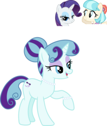 Size: 1034x1211 | Tagged: safe, artist:littlejurnalina, coco pommel, rarity, oc, pony, unicorn, bracelet, female, jewelry, lesbian, magical lesbian spawn, mare, marshmallow coco, necklace, offspring, parent:coco pommel, parent:rarity, parents:marshmallow coco, pearl necklace, raised hoof, screencap reference, shipping