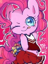 Size: 385x512 | Tagged: safe, artist:naginiko, pinkie pie, pony, belly button, cheerleader pinkie, clothes, cute, diapinkes, female, heart, heart eyes, midriff, miniskirt, moe, one eye closed, pink background, pleated skirt, pom pom, simple background, skirt, solo, tongue out, weapons-grade cute, wingding eyes, wink
