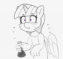 Size: 1280x1194 | Tagged: 30 minute art challenge, alicorn, artist:pabbley, flask, monochrome, partial color, potion, safe, solo, species swap, sphinx, sphinxified, twilight sparkle, twilight sparkle (alicorn), whiskers