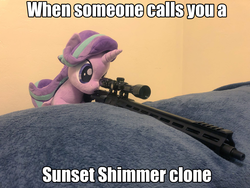 Size: 2048x1536 | Tagged: safe, artist:nekokevin, edit, starlight glimmer, pony, series:nekokevin's glimmy, ar15, caption, gun, image macro, irl, photo, plushie, snipelight glimmer, text, this will end in death, this will end in pain, this will end in tears, this will end in tears and/or death, weapon