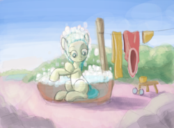 Size: 1900x1400 | Tagged: artist:tehwatever, bath, clip studio paint, clothes line, desert, desert flower, digital painting, glasses, outdoors, pony, rock, safe, sketch, sky, soap bubble, solo, somnambula resident, wip