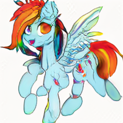 Size: 256x256 | Tagged: artist:aerial, candy gore, computer generated, derpibooru exclusive, gore, looking at you, machine learning, pegasus, pony, rainbow dash, safe, simple background, white background