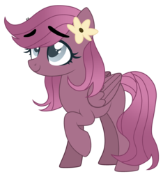 Size: 1280x1365 | Tagged: artist:crumble-dumble, cute, eyebrows, female, flower, flower in hair, mare, oc, oc only, offspring, parent:big macintosh, parent:marble pie, parents:marblemac, pegasus, pony, raised hoof, safe, simple background, solo, transparent background