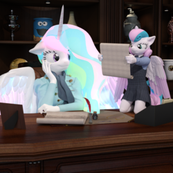 Size: 2000x2000 | Tagged: safe, artist:tahublade7, princess celestia, princess flurry heart, alicorn, anthro, plantigrade anthro, 3d, clothes, daz studio, dress, female, filly, inkwell, mare, mary janes, older, quill, scroll, socks, story in the source, story included