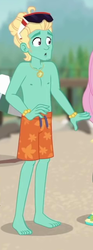 Size: 244x657 | Tagged: bare chest, barefoot, blue crushed, clothes, cropped, equestria girls, equestria girls series, feet, legs, male, safe, screencap, shorts, sunglasses, swimming trunks, toes, zephyr breeze, zephyr's necklace