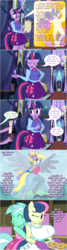 Size: 800x3002 | Tagged: safe, artist:flash equestria photography, bon bon, derpy hooves, dinky hooves, lyra heartstrings, princess celestia, spike, sweetie drops, twilight sparkle, anthro, unguligrade anthro, big breasts, breasts, busty bon bon, busty princess celestia, comic, cookie, equestria girls outfit, equestria's best mother, featureless breasts, featureless crotch, female, food, hug, hug from behind, huge breasts, lesbian, lyrabon, offscreen character, oven mitts, shipping, show accurate anthro, speech bubble