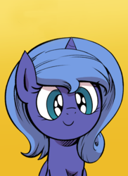 Size: 523x717 | Tagged: artist:lovelyneckbeard, comic, comic:dream away, cropped, cute, daaaaaaaaaaaw, female, filly, happy, lunabetes, princess luna, safe, simple background, smiling, solo, woona, yellow background, younger